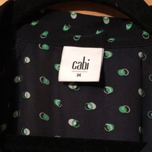 CAbi top 💕 Navy blue with green and white